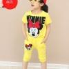 ชุดเด็ก เสื้อสีเหลืองลายมินนี่เมาส์กางเกงสีเหลือง ยกแพ็ค 5 ชุด (ราคา 185 บาท/ชุด) ขนาด 100-140