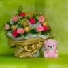 ช่อเฟอเรโร่ (Ferrero Rocher) 9 ลูก ดอกกุหลาบสีชมพูหวาน กระดาษสีทอง