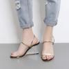 [มี2สี] รองเท้าหัวปลา ส้นสูง ส้นพลาสติกใส แบบสวม สองตอน งานสวย เก๋ ส้นสูง 3.5 นิ้ว