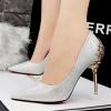 [มีหลายสี] รองเท้าหัวแหลม ส้นสูง(ส้นเข็ม) ใส่ออกงาน รองเท้าเจ้าสาว แต่งกลิตเตอร์วุ้งวิ้ง ส้นแต่งอะไหล่เก๋ๆ สูง 4 นิ้ว