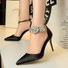 [มีหลายสี] รองเท้าคัทชูส้นสูง แฟชั่นหนัง pu + ผ้าซาติน แต่งหัวเข็มขัดรัดข้อ ประดับสร้อยเพชร สวย ส้นสูง 3.5 นิ้ว