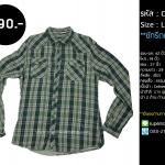 C2054 เสื้อลายสก๊อต ผู้ชาย สีเขียว