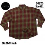 C4025 เสื้อลายสก๊อต สีแดงอิฐ ไซส์ใหญ่