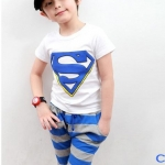 ชุดเด็ก เสื้อสีขาวกางเกงสีฟ้าเทา ยกแพ็ค 5 ชุด (ราคา 170 บาท/ชุด) ขนาด 100-140
