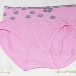 กางเกงในเอวสูง กางเกงในขอบใหญ่ ลายดอกไม้ สีชมพู