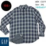 C1277 เสื้อลายสก๊อต ผู้ชาย สีเทา GAP ไซส์ใหญ่