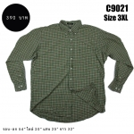 C9021 เสื้อเชิ้ตลายสก๊อต สีเขียว ไซส์ใหญ่