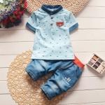 ชุดเด็ก เสื้อสีฟ้ากางเกงสียีนส์ แพ็ค 4 ชุด (ราคา 165 บาท/ชุด) ขนาด 90-120