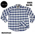 C5025 เสื้อลายสก๊อต ผู้ชาย สีฟ้าขาว