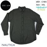 C1185 เสื้อลายสก๊อต ผู้ชาย สีเทา Nautica ผ้า เรยอน