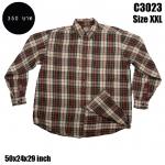 C3023 เสื้อลายสก๊อตผู้ชายอ้วน
