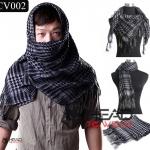 ผ้าพันคอชีมัค Shemash (เนื้อผ้า Viscose) : สีเทา-ดำ CV002