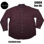 C4059 เสื้อเชิ้ตชาย ลายสก๊อต สีแดงเข้ม ไซส์ใหญ่