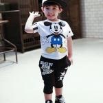 ชุดเด็ก เสื้อสีขาวลายมิกกี้เมาส์กางเกงสีดำ ยกแพ็ค 5 ชุด (ราคา 185 บาท/ชุด) ขนาด 100-140