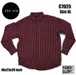 C7025 เสื้อลายสก๊อตสีแดง