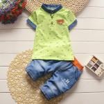 ชุดเด็ก เสื้อสีเขียวกางเกงสียีนส์ แพ็ค 4 ชุด (ราคา 165 บาท/ชุด) ขนาด 90-120