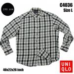 C4036 เสื้อลายสก๊อต สีเทา Uniqlo