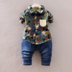 Pre-order ชุดเสื้อ+กางเกง / แพ็คละ 4 ตัว / Size 80-105 /สีคราม