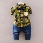 Pre-order ชุดเสื้อ+กางเกง / แพ็คละ 4 ตัว / Size 80-105 /สีเขียว