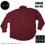 C8038 เสื้อเชิ้ตลายสก๊อตสีแดง ไซส์ใหญ่