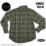 C8032 เสื้อเชิ้ตลายสก๊อต สีเขียว OLD NAVY