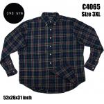 C4065 เสื้อลายสก๊อตผู้ชาย สีน้ำเงิน ไซส์ใหญ่