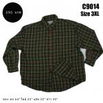 C9014 เสื้อลายสก๊อต สีเขียว ไซส์ใหญ่