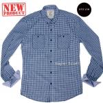 ME024 เสื้อเชิ้ตผู้ชายลายสก๊อตสีฟ้า
