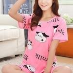 ชุดนอนน่ารักแขนสั้นลายวัว milk สีชมพู