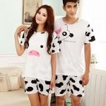 ชุดนอนคู่รักลายวัวขาสั้น