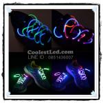 เชือกรองเท้าเรืองแสง มีไฟ Led กระพริบ แบบสีผสม 2 สี