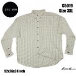 C5019 เสื้อลายสก๊อตสีครีม ไซส์ใหญ่ Eddie Bauer