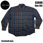 C3008 เสื้อเชิ้ตลายสก๊อตผู้ชายสีเข้ม ผ้าบาง ไซด์ใหญ่