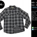 C1659 เสื้อลายสก๊อต ผู้ชาย สีเทา ผ้า 2 ด้าน
