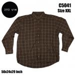 C5041 เสื้อเชิ้ตลายสก๊อต สีน้ำตาล ไซส์ใหญ่