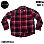 C3034 เสื้อลายสก๊อตผู้ชายสีแดงดำ