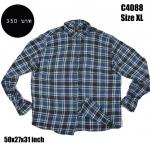 C4088 เสื้อลายสก๊อตผู้ชาย สีฟ้าเทา ไซส์ใหญ่