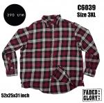 C6039 เสื้อเชิ้ตลายสก๊อตสีแดง FADED GLORY