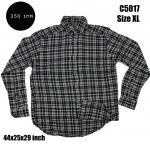 C5017 เสื้อลายสก๊อตผู้ชาย สีดำ