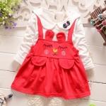 Pre-order เดรส / แพ็คละ 4 ตัว / Size80-105 /สีแดง
