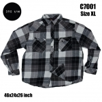 C7001 เสื้อลายสก๊อต สีเทาดำ