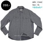 C1442 เสื้อลายสก๊อต สีเทา ผู้ชาย ผ้าหนา
