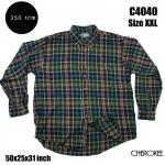 C4040 เสื้อลายสก๊อต ผู้ชายสีเขียว ไซส์ใหญ่
