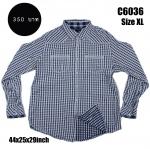 C6036 เสื้อลายสก๊อตสีน้ำเงิน-ขาว กระดุมมุก