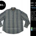 C2014 เสื้อลายสก๊อต ผู้ชาย ผ้าสำลี สีเทา