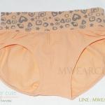กางเกงในเอวสูง กางเกงในขอบใหญ่ ลายหัวใจ สี่เหลี่ยม สีส้ม