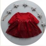Pre-order เดรส / แพ็คละ 4 ตัว / Size80-110 /สีแดง