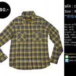 C2196 เสื้อลายสก๊อต ผู้ชาย สีเหลือง
