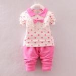 Pre-order ชุดเสื้อ+กางเกง / แพ็คละ 4 ตัว / Size 80-105 /สีชมพู