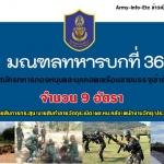 มทบ.36 รับสมัครบุคคลพลเรือนชาย ทหารกองหนุน เข้ารับราชการเป็นนายทหารประทวน จำนวน 9 อัตรา